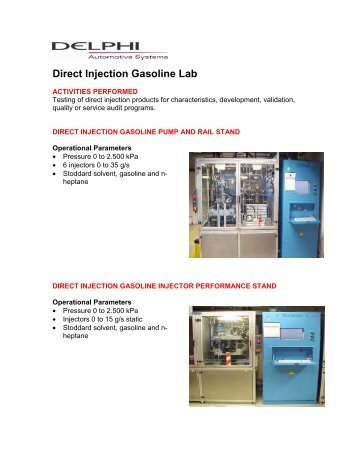 Direct Injection Gasoline Lab - Delphi