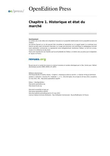Chapitre 1. Historique et état du marché - Sciences Po Spire