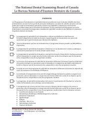 Parodontie - National Dental Examining Board of Canada
