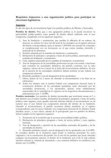 Requisitos impuestos a una organización política para participar en ...