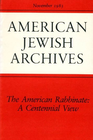 1886-1983 - American Jewish Archives