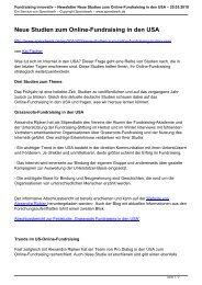 Newsletter Neue Studien zum Online-Fundraising in ... - Spendwerk