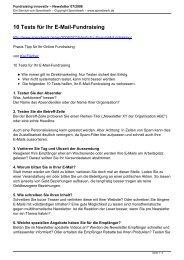 Fundraising innovativ – Newsletter 07/2008 - Spendwerk