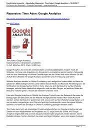 Timo Aden: Google Analytics - Spendwerk