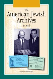 The American Jewish Archives Journal, Volume LXI 2009, Number 1