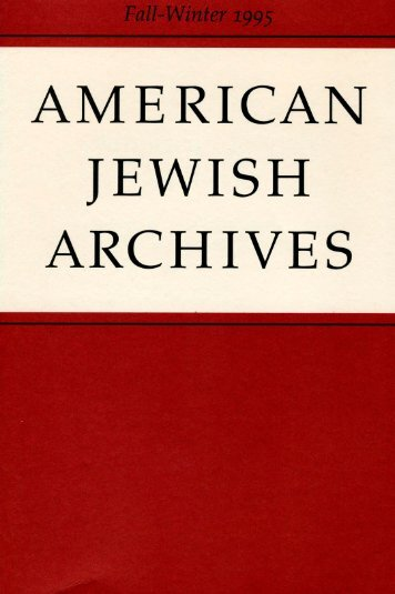 Letters to the Editor - American Jewish Archives