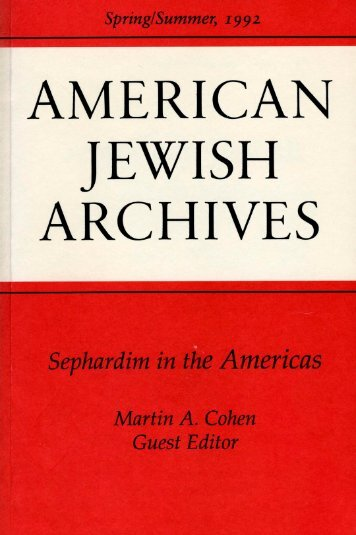 American Jewish Archives Journal, Vol 44, No. 01 (1992)