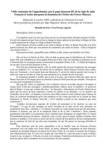 VIIIè centenaire de l'approbation, par le pape Innocent III, de la règle ...