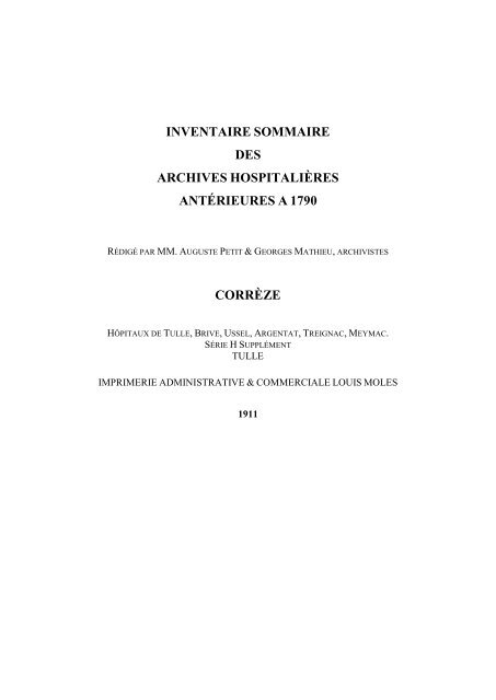 Inventaire Sommaire Des Archives Hospitalières Antérieures à