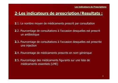 LES INDICATEURS DE PRESCRIPTIONS