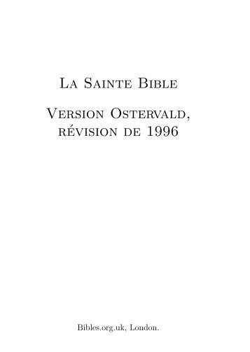 French Ostervald 1996 Bible