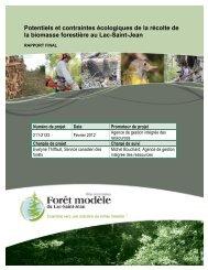 Téléchargez le rapport final. - Forêt Modèle du Lac Saint-Jean
