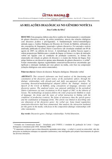as relações dialógicas no gênero notícia - Revista Letra Magna
