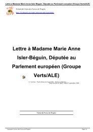 Lettre à Madame Marie Anne Isler-Béguin, Députée au ... - Ufpweb.org