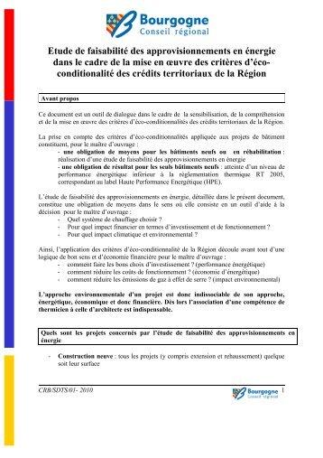 Etude de faisabilité des approvisionnements en ... - Bourgogne
