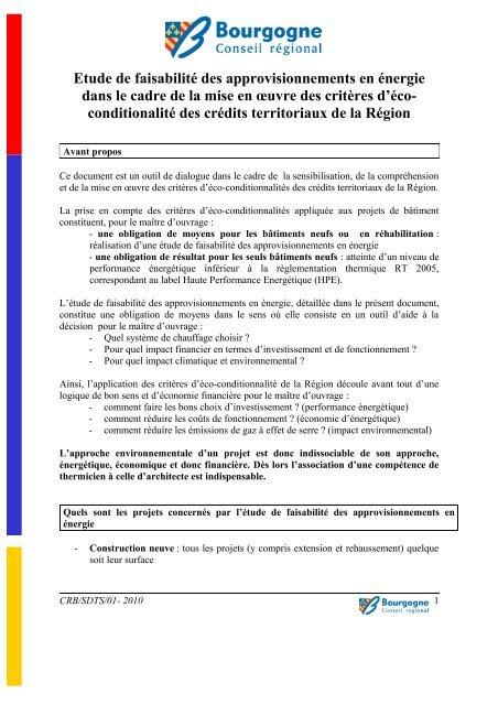 Etude De Faisabilite Des Approvisionnements En Bourgogne