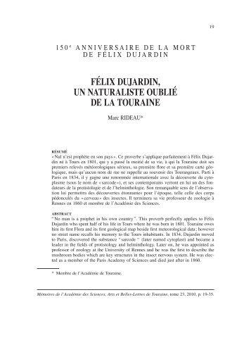 félix dujardin, un naturaliste oublié de la touraine - Académie de ...