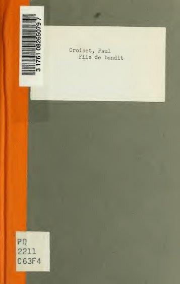 Fils de bandit; drame en trois actes - University of Toronto Libraries