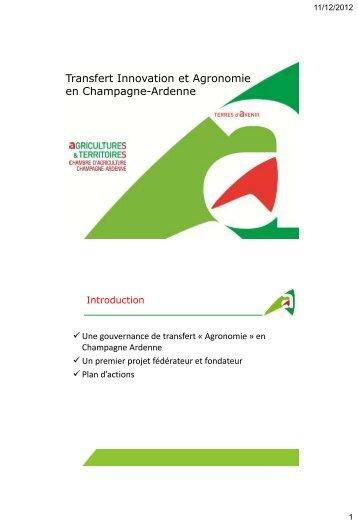 Agronomie, innovation et Auto'N - Chambre d'agriculture de ...
