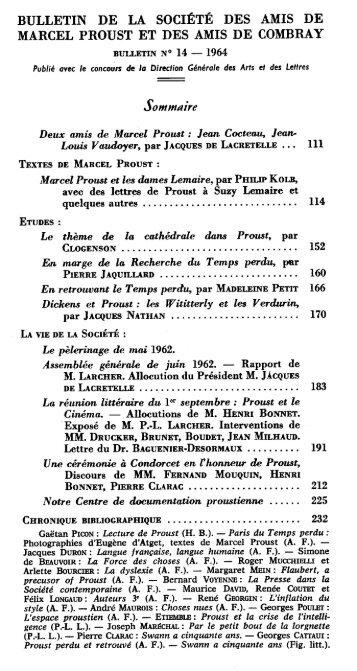 BULLETIN DE LA SOCIÉTÉ DES AMIS DE MARCEL PROUST ET ...