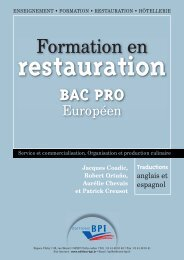 Formation en restauration Bac Pro - Editions BPI