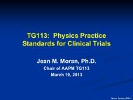 TG113: Physics Practice Standards for Clinical Trials