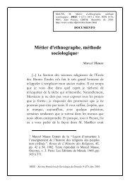 Métier d'ethnographe, méthode sociologique1 - CCHLA