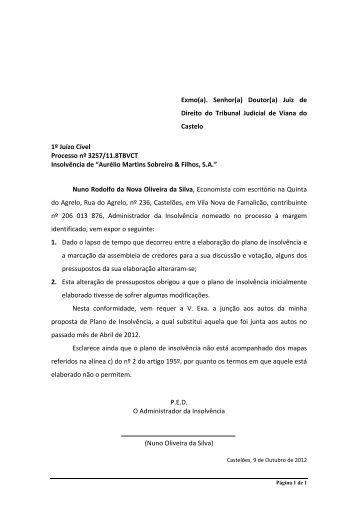 Plano de Insolvência - Nuno Oliveira da Silva