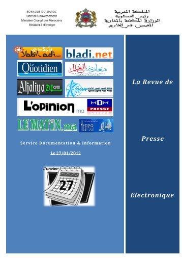 La Revue de Presse Electronique - Ministère Chargé des Marocains ...