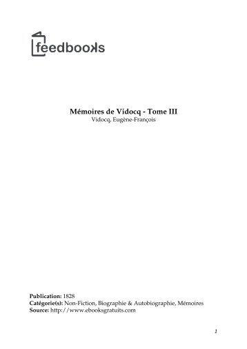 Mémoires de Vidocq - Tome III - Lecteurs