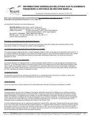 Informations générales relatives aux placements - Record Bank