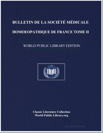 bulletin de la société médicale homoeopathique de france tome ii