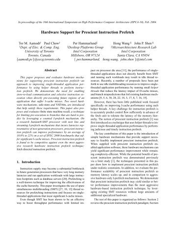 Hardware Support for Prescient Instruction Prefetch - Electrical and ...