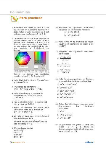 Ejercicios completos de polinomios - Amolasmates