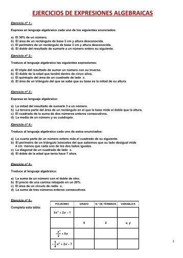 EJERCICIOS DE EXPRESIONES ALGEBRAICAS - Amolasmates