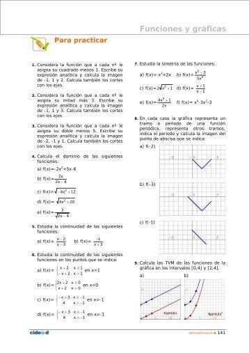 Ejercicios propiedades de funciones - Amolasmates