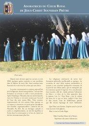 Lettres des Adoratrices - Institut du Christ Roi Souverain Prêtre