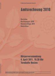 Berichte Rechnungen 2010 Voranschläge 2011 Gutachten - Uznach