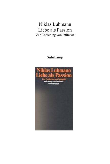 Luhmann Niklas Liebe Als Passion Pdf