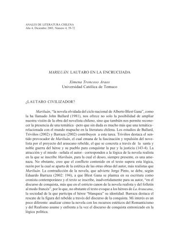MARILUÁN - Anales de Literatura Chilena