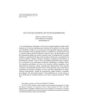 Una lectura ecocrítica de textos huidobrianos. - Anales de Literatura ...