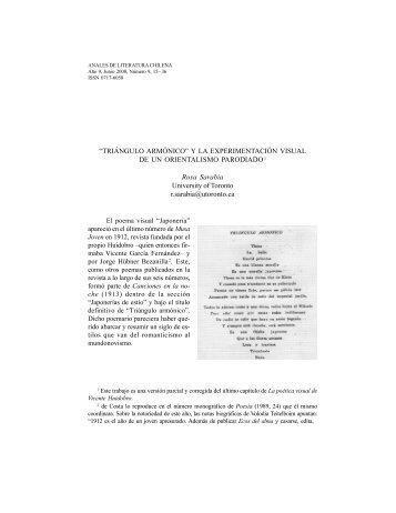 Triángulo armónico - Anales de Literatura Chilena