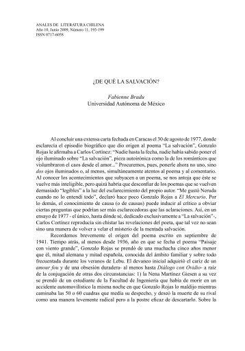 ¿DE QUÉ LA SALVACIÓN? - Anales de Literatura Chilena