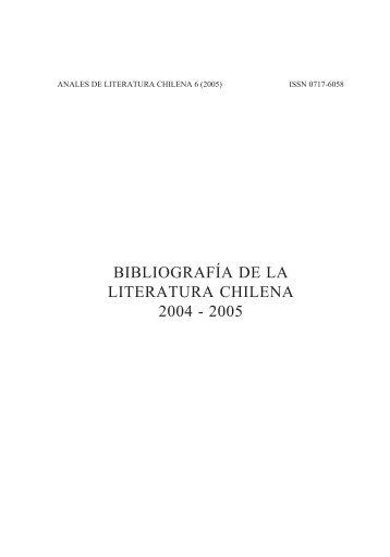 Bibliografía de la Literatura Chilena 2004 - Anales de Literatura ...