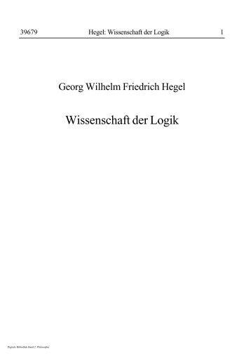 Hegel, Georg - Wissenschaft Der Logik 1