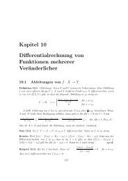 Kapitel 10 Differentialrechnung von Funktionen mehrerer ...