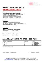 SKD KONGRESS 2010 ANMELDUNG 2010 - SKD Sport Konzepte ...