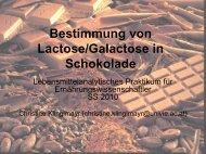 Bestimmung von Lactose/Galactose in Schokolade