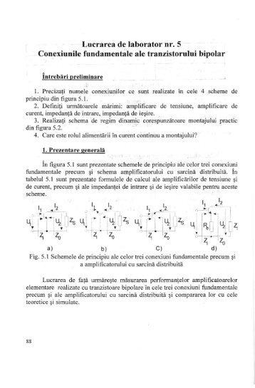 Conexiunile fundamentale ale tranzistorului bipolar [pdf] - Andrei