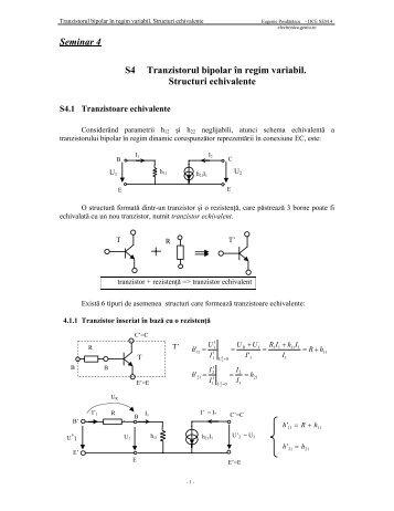 Seminar 4 S4 Tranzistorul bipolar în regim variabil. Structuri ... - Andrei